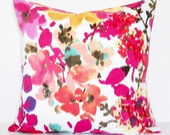 FLORAL IKAT PILLOW // Bright Floral Pillow Cover, Ikat, Floral Pillow, Watercolor, Kids, Toss Pillow, Throw Pillow