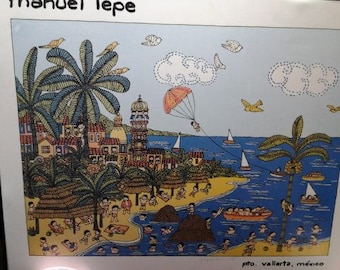 Framed Artist Manuel Lepe Painting Print of Puerto Vallarta, Mexico, Signed by Rodrigo Lepe believed to be Manuel's brother
