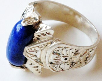 Lapis Lazuli Ring in Sterling Silver from Peshawar-Size 9.5-11