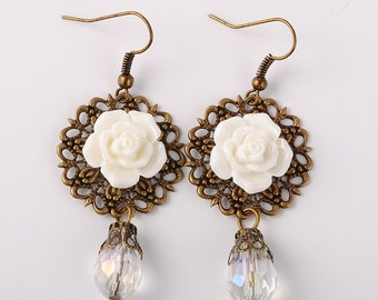 Ivory Rose Filigree Earrings