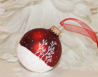 Our Most Popular Hand Painted Christmas Ornament,  Aspen Snow Scene with Snow falling and Glitter, Glass Christmas Ornament, Rich Red