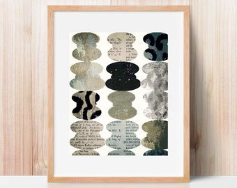 typography abstract, mixed media, collage, modern art print, large wall art, large art, Scandinavian print, Scandinavian design