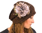 Cloche Hat Flapper 1920 Hat Great Gatsby Chic Flower Boho Hat winter autumn 20s Flapper hat Tube Circle Scarf  Brown Beanie cap Winter