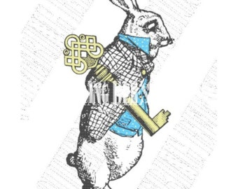 Alice in Wonderland White Rabbit with Key Digital Download-fabric transfer party invitation tea towels tote bags decals stickers no 99882
