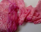"""3.5"""" Wide Hand Dyed Tie Dyed Lace Stretch Lace Pink Ombre Scalloped Lace Colored Lace Fashion Fabric Lingerie Lace ST"""