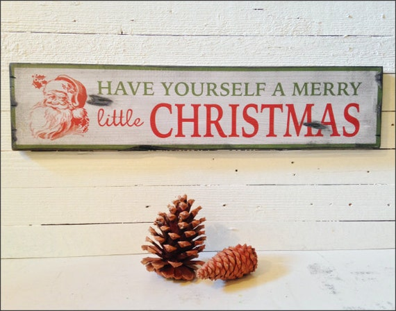 "Large ""A Merry Little Christmas"" Handcrafted Rustic Wood Sign - Original Alpine Graphics Design - 3 Sizes - 1036"