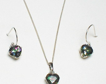 Heart Necklace and Earring in Rainbow or Green Fire Mystic Topaz all in 925 Sterling Silver