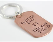 Custom Daddy Keychain with Name & Birthdate | Dog Tag Keychain, My Little Girl Daddy Keychain, Christmas Gift for New Dad