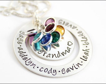Grandma Necklace with Names & Birthstones | Large Personalized Washer,  Custom Name Necklace, Mother's Day Gift for Nana, Mima, Yia Yia