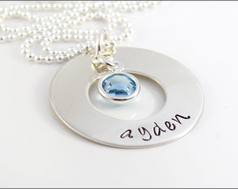 Personalized Mom Necklace with 1 Name & Birthstone | Sterling Silver Hand Stamped Name Necklace
