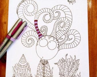 Doodle Story Creatures Coloring Page Alien Monster Horns Original Art Kids Fun Design