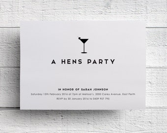 Hens Party Invitation, Hen Night, Hens Party, Printable Hen Night, Hen Party Invite, Martini Invitation, Girls Night Out