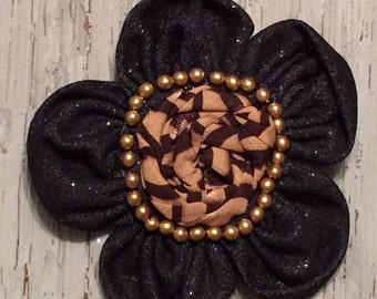 Brooch, brooch pin, denim brooch, flower pin, accessory, beaded brooch,3.5 inches