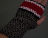 Ohio State Gloves Fingerless Mittens Hand Crocheted Buckeyes