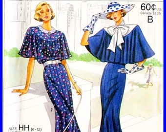 Vintage Simplicity 9360 Sewing Pattern REPRODUCTION of 1920s DRESS - Town Dress with Tie Collar & Capelet - Women's 6 8 10 12 - UNCUT