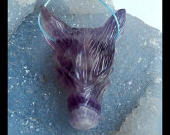 Carved Amethyst Wolf Head Gemstone Pendant Bead,55x40x16mm,35.1g