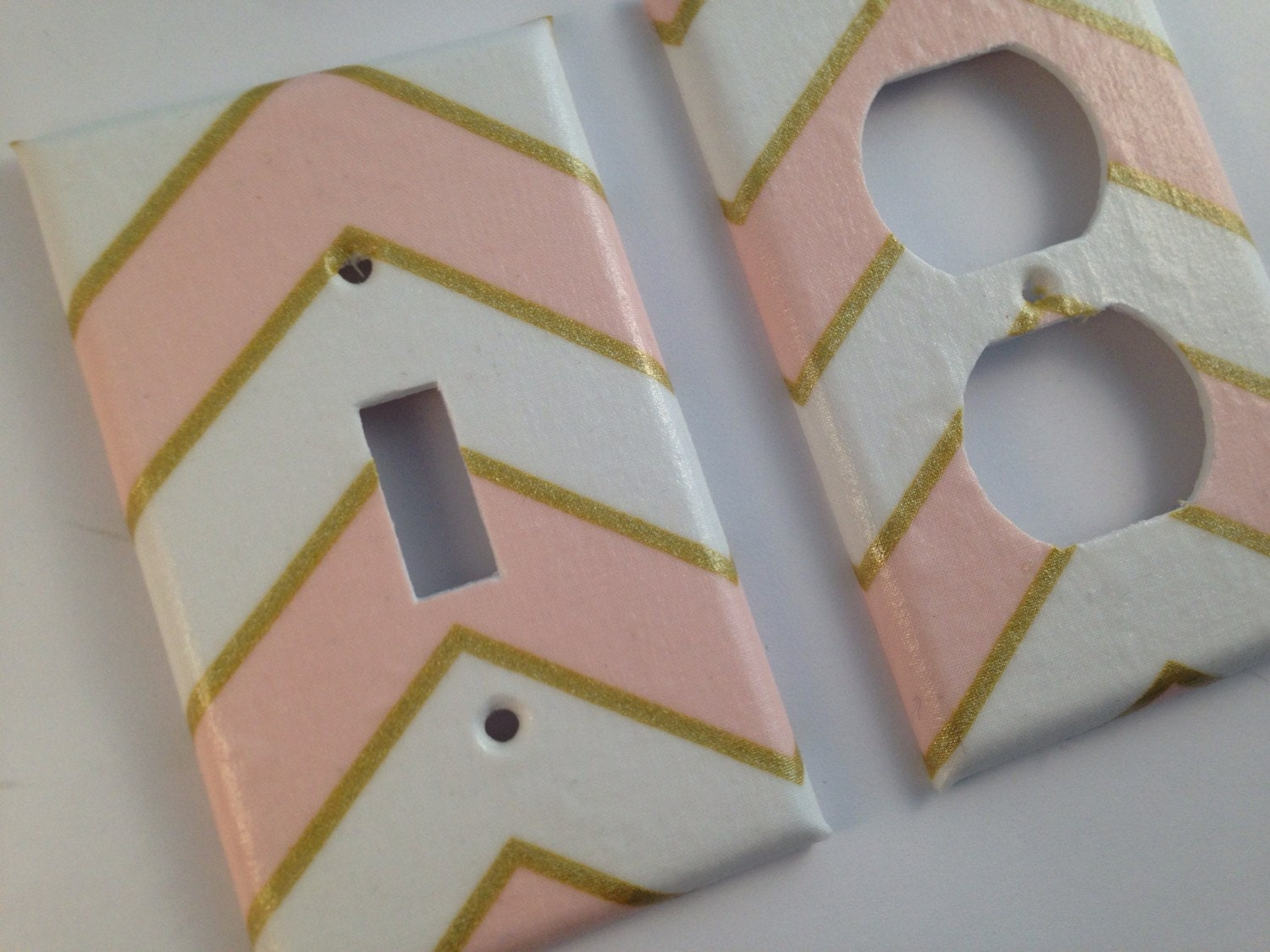Metallic gold pink white light switch plate cover gold home for Pink and gold bathroom decor