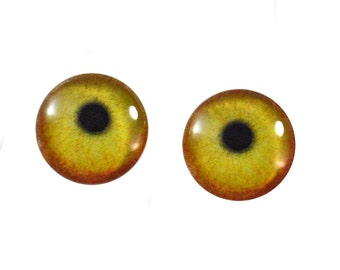 16mm Yellow Flamingo Bird Glass Eye Cabochons - Evil Eyes for Taxidermy, Doll or Jewelry Making - Set of 2