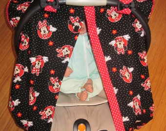 Car Seat Canopy // Fitted Canopy // Minnie Mouse inspired