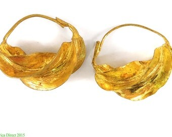 Fulani Earrings Lightweight Gold Colored Metal Africa 21mm 97874