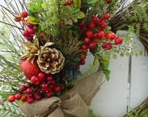 Christmas Wreath Holiday Wreath  Faux Wreath  Door Wreath  Christmas Wreath  Twig Wreath  Festive Wreath  Autumn Wreath  Berry Wreath
