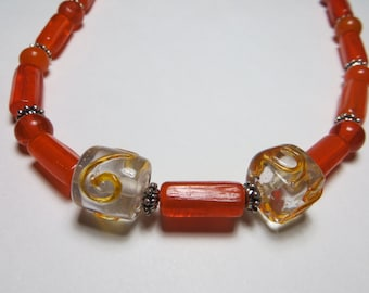 Orange silver glass bead necklace 20""