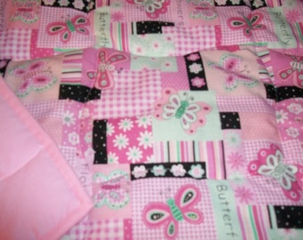 Butterflies Pink Girls Handmade Throw Toddler Bed or Crib Size  Quilt Comforter Blanket