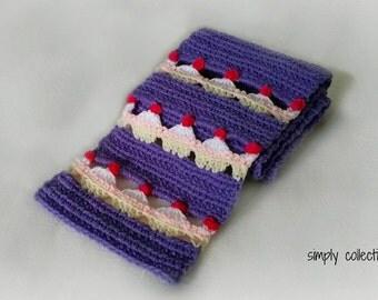 Crochet Pattern - Cupcake Lovers Scarf crochet pattern - pdf