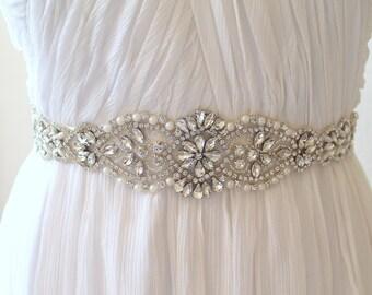 Silver Bridal Crystal, Pearl sash. Rhinestone Rose gold Applique Wedding Dress Belt. Gold Bride Sash.  CALLISTA