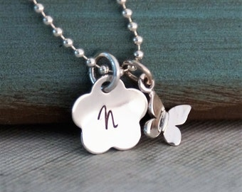 Small Flower Initial with Butterfly Necklace / Personalized Necklace / Hand Stamped Jewelry / Sterling Silver