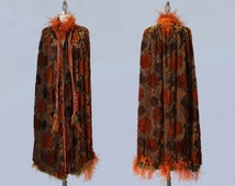 1920s Coat / AMAZING 20s Flapper Cape / Flocked Velvet and OSTRICH Feathers