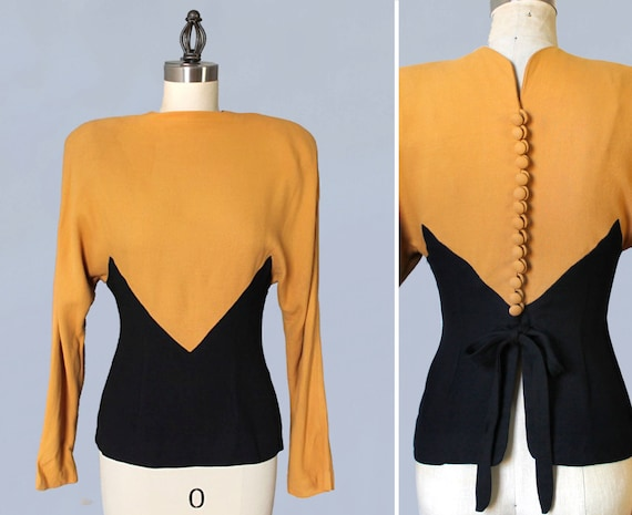 RESERVED 1930s Blouse / Late 30s Early 1940s Top / INTENSE SHOULDERS / Art Deco Color Block / Button Back