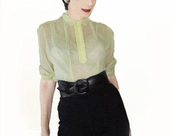 Vintage Sheer Nylon Blouse  - 50s Blouse - Yellow with Tuxedo Ruffles