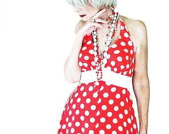 Vintage Holiday Maxi Dress - 70s Red & White Halter - Long Vintage Sun Dress