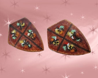 1950s Modernist Copper Screwback Earrings with Enamel Abstract