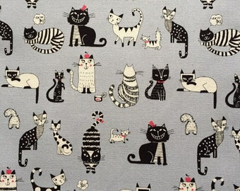 Japanese cotton fabric cat printed one yard grey colour