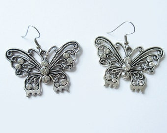Butterfly Statement Earrings with Rhinestone Butterflies Earrings