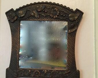 Antique Wood Framed Beveled Mirror