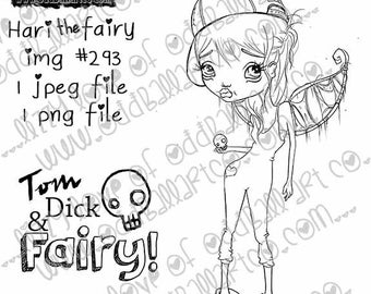 Instant Download Big Eye Tom Boy Fairy Creepy Cute Digital Stamp Coloring Page ~ Hari the Fairy Image No. 293 by Lizzy Love