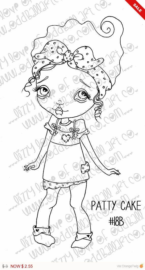 Sale -  Digi Stamp Digital Instant Download Big Eye Girl ~ Patty Cake Image No. 18 & 18B by Lizzy Love