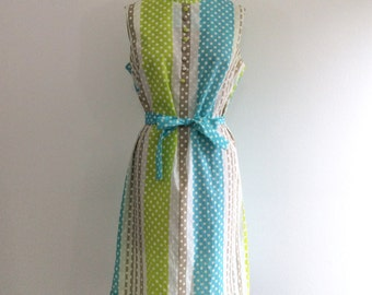 1950s 1960s Stripe Polka Dot Dress 50s 60s Summer Sundress
