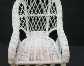 Wicker Doll Chair, White Wicker Miniature Chair, Decorative Wicker Chair, Plant Stand,  Cottage Decorating, Country Doll Chair,