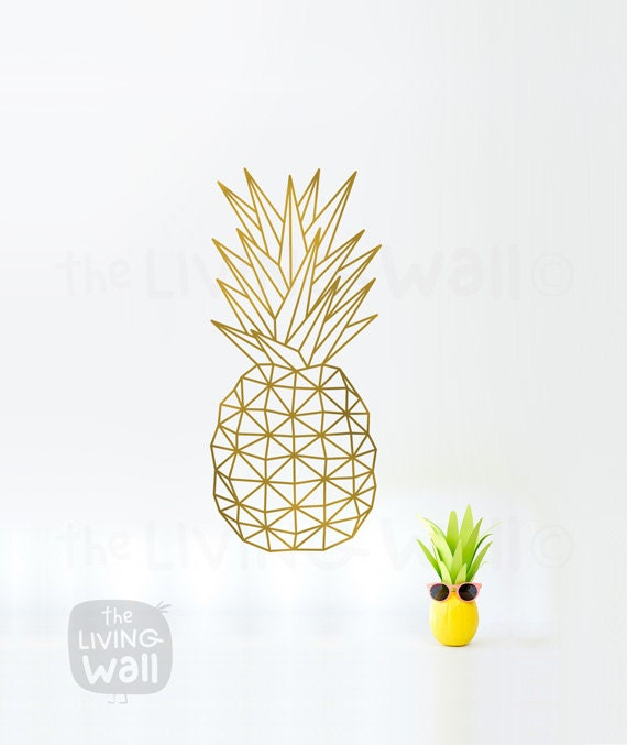 geometric pineapple wall art fruit stickers wall decal decor. Black Bedroom Furniture Sets. Home Design Ideas