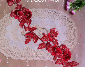10pcs red/fuschia gold peony embroidered clothes appliques patches 4345 free ship