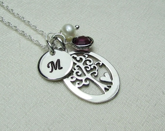 Mothers Necklace Family Birthstone Necklace Initial Necklace Personalized Jewelry Monogram Necklace Tree of Life Necklace Gift