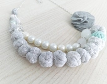 Fabric gray-pearl Necklace