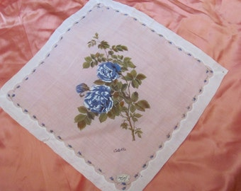 Beautiful White Floral Cotton Hankie Handkerchief -  - Unused - Colette