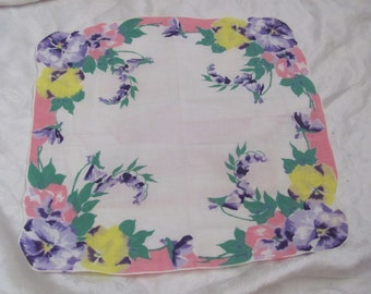 Beautiful White Pansies Floral Cotton Hankie Handkerchief