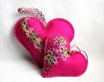 Hearts Pink Felt Tatting Lace Lavender Sachets