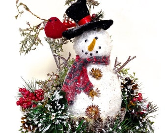 "Crinkle Snowman Winter Arrangement Winter Christmas Centerpiece Custom Designed 14"" x 10"""